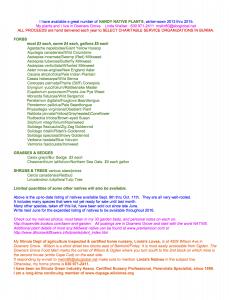 2015 natives listing still available Sept