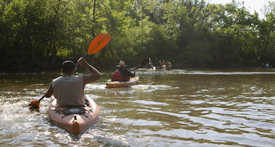 Paddlers on river